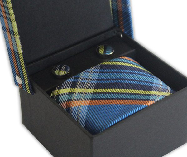BLUE/ORANGE/YELLOW CHECK TIE & CUFFLINK SET-0