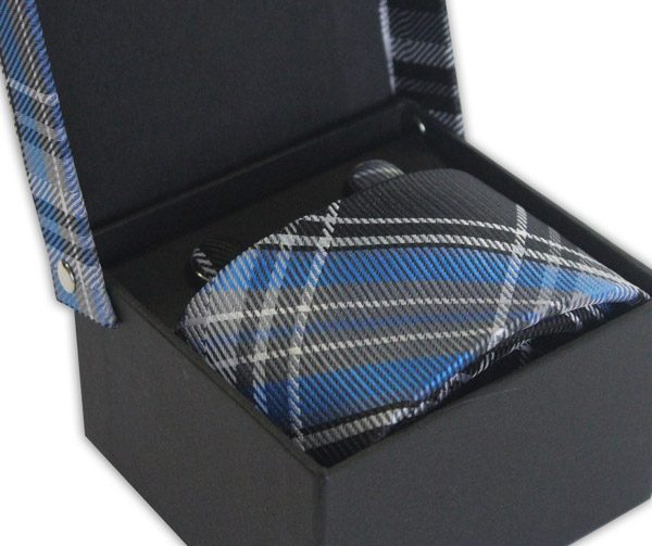 BLUE/GREY/BLACK CHECK TIE & CUFFLINK SET-0