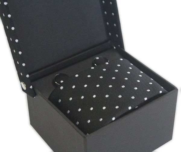 BLACK/WHITE POLKA DOT TIE & CUFFLINK SET-0