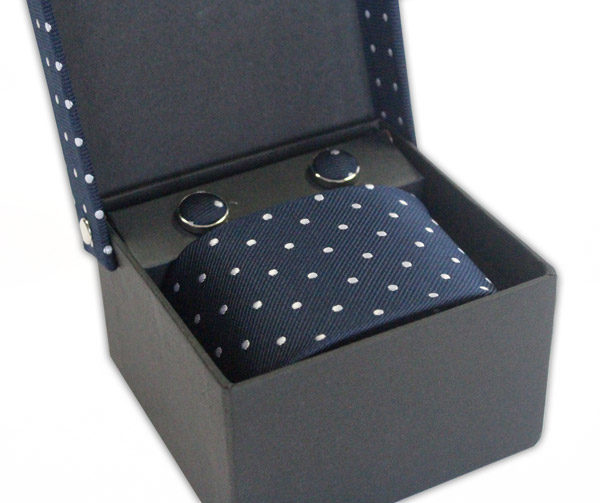 NAVY/WHITE POLKA DOT TIE & CUFFLINK SET-0