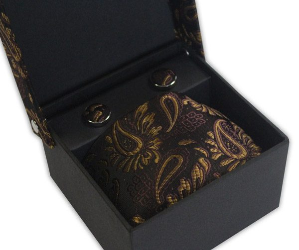 BROWN/GOLD FLORAL TIE & CUFFLINK SET-0
