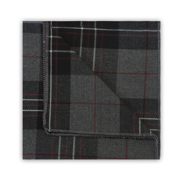 GREY TARTAN POCKET SQUARE
