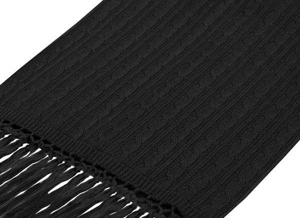 Black knitted wool scarf