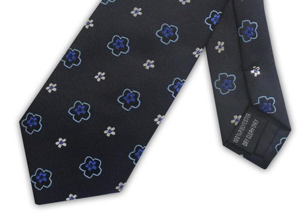 NAVY/BLUE FLOWER XL POLYESTER TIE