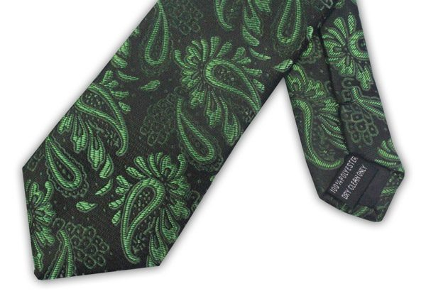 GREEN/BLACK FLORAL TIE-0