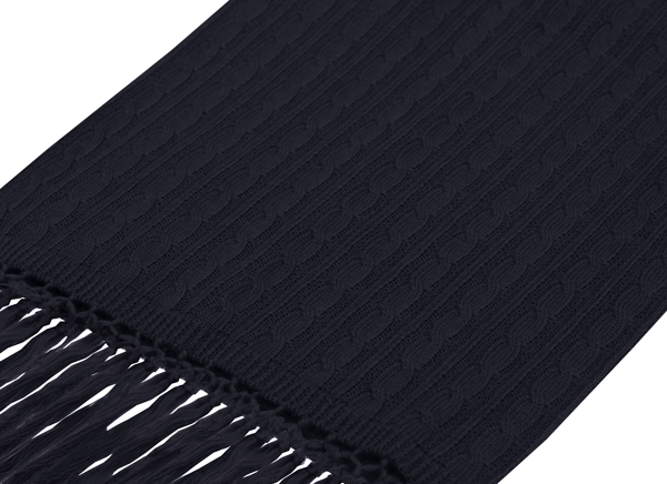 NAVY KNITTED WOOL SCARF