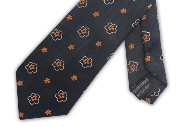 NAVY/ORANGE FLOWER TIE