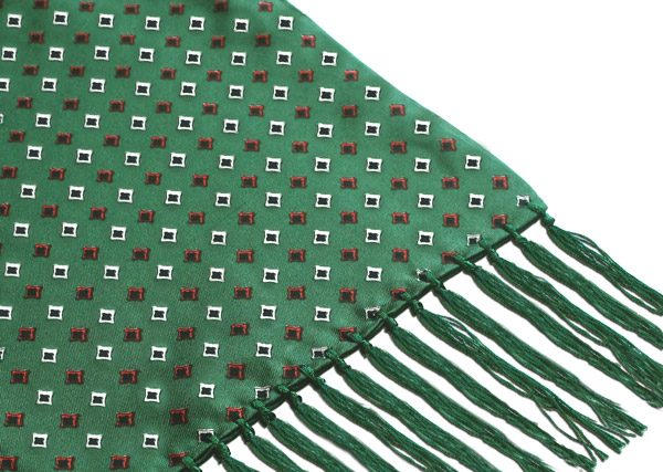 GREEN/RED DIAMONDS SILK AVIATOR SCARF-0