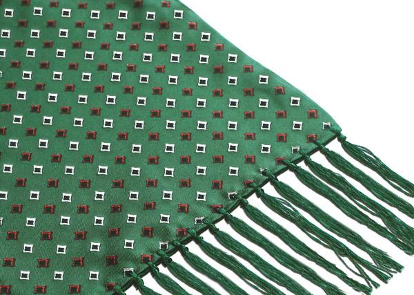 GREEN/RED DIAMONDS SILK AVIATOR SCARF