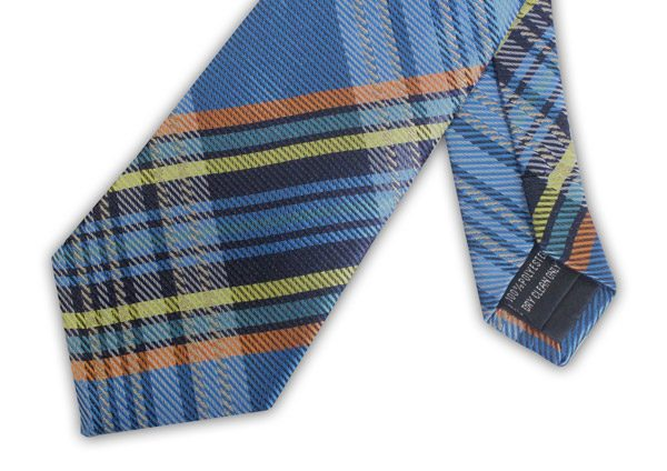 BLUE/ORANGE/YELLOW CHECK TIE-0