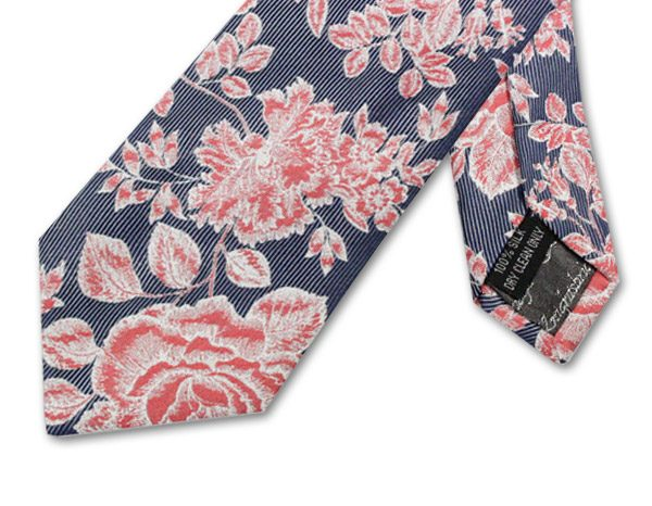 GREY/ORANGE FLORAL PIN STRIPE TIE-0