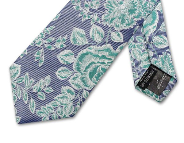 GREY/GREEN FLORAL PIN STRIPE TIE-0