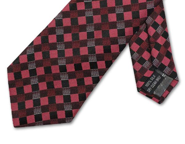 SALMON PINK/BLACK/RED CHECK TIE-0