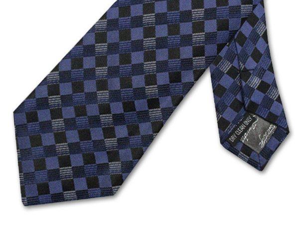 BLUE/BLACK/NAVY CHECK TIE-0