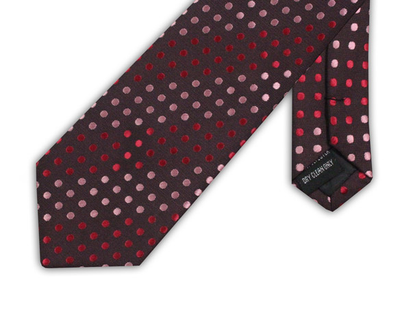 PINK/RED XL POLYESTER POLKA DOT TIE