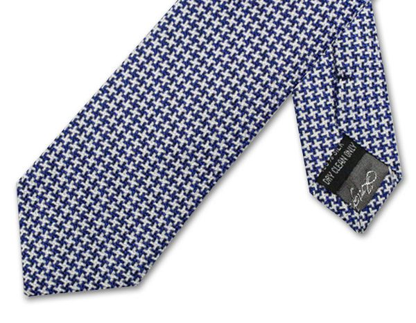 NAVY and WHITE GEOMETRIC HOUNDSTOOTH TIE-0