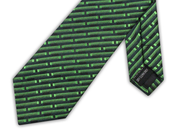 GREEN/BLACK BRICK XL POLYESTER TIE