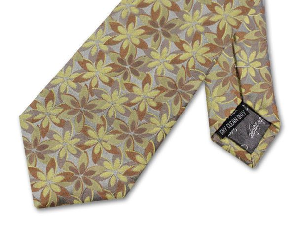 YELLOW/AMBER/BEIGE FLORAL TIE-0