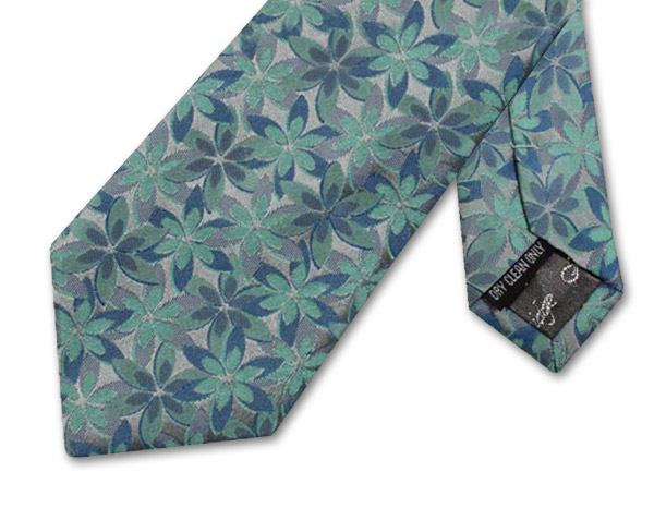 BLUE/TURQUOISE/GREY FLORAL TIE