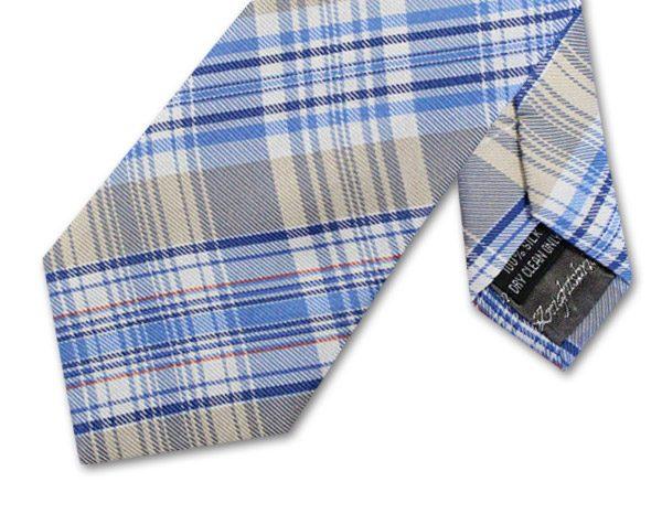 NAVY/BLUE/WHITE/GREY CHECK TIE-0