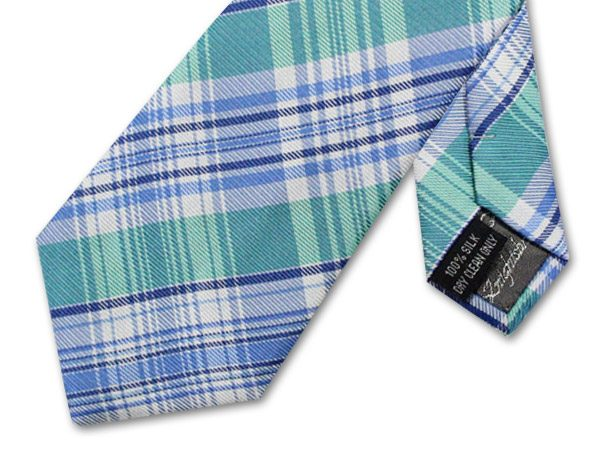 NAVY/BLUE/WHITE/TURQUOISE CHECK TIE-0