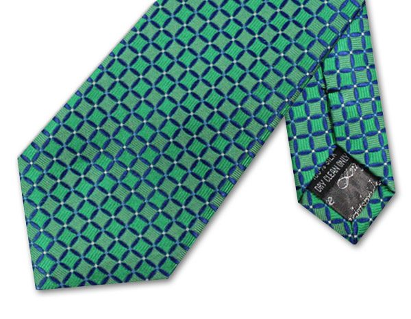 BOTTLE GREEN/NAVY GEOMETRIC TIE-0