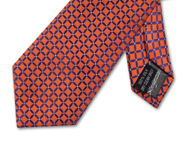 ORANGE/NAVY GEOMETRIC TIE-0