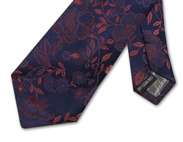 NAVY/ORANGE FLORAL TIE