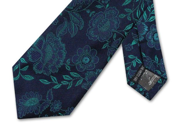 NAVY/TURQUOISE FLORAL TIE-0