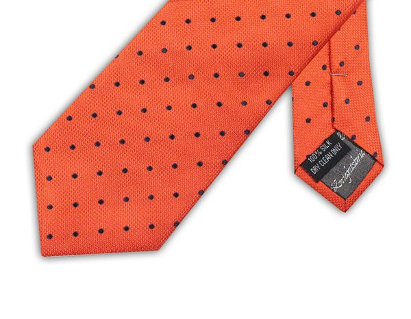 ORANGE WITH NAVY SPOTS TIE-0