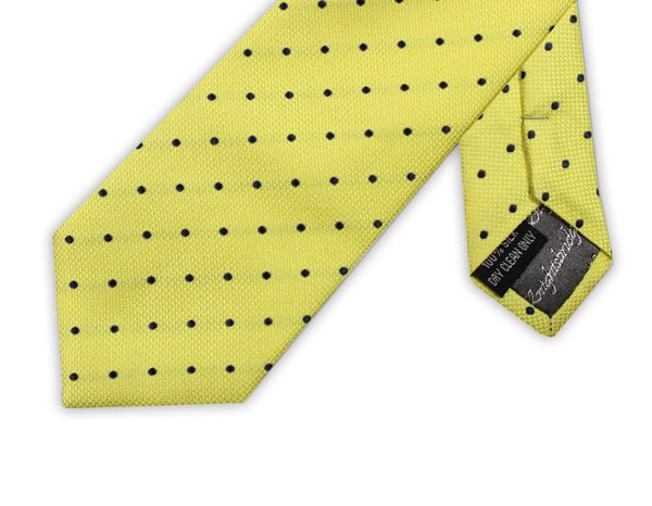 YELLOW WITH NAVY SPOTS TIE-0