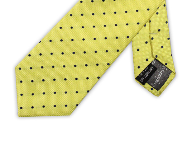 YELLOW WITH NAVY SPOTS TIE