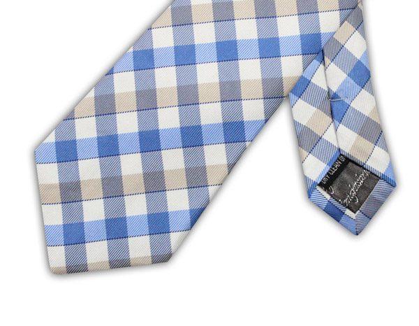 BLUE/WHITE/GREY CHECK TIE-0