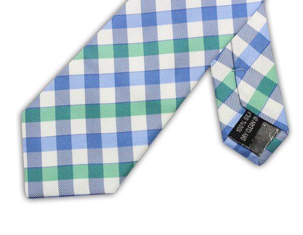 BLUE/WHITE/GREEN CHECK TIE-0
