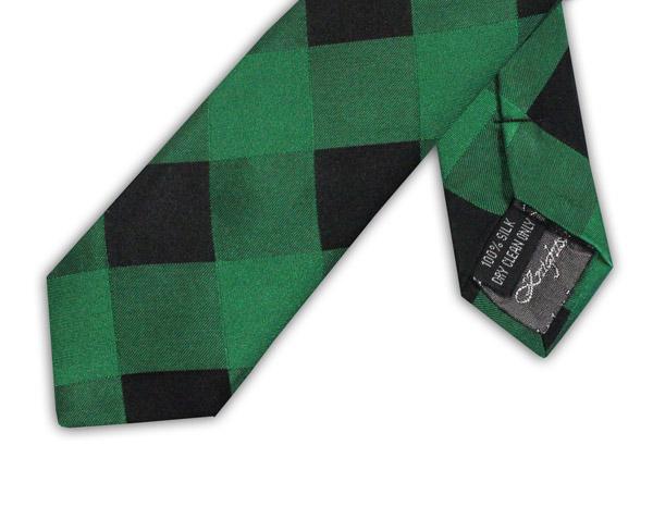 GREEN/BLACK CHECK TIE-0