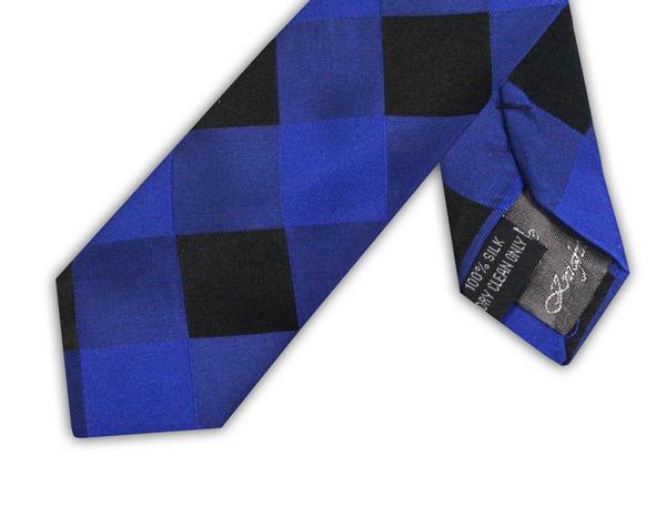 ROYAL BLUE/BLACK CHECK TIE-0