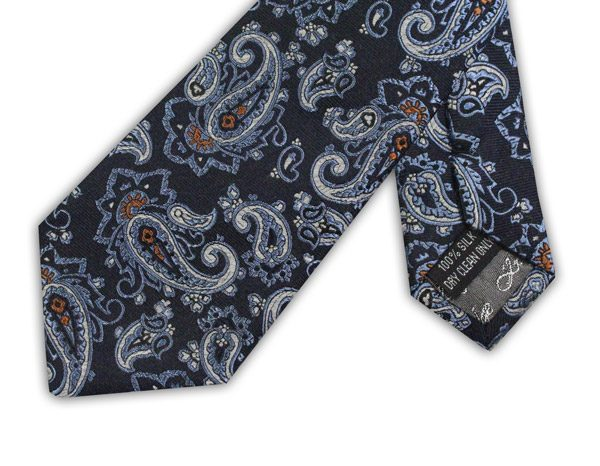 NAVY/WHITE/BLUE/ORANGE PAISLEY TIE-0
