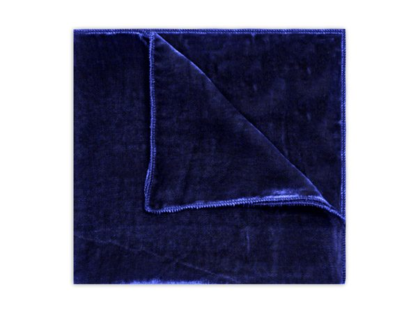 NAVY SILK VELVET SQUARE-0
