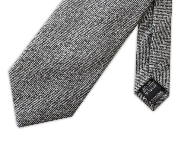 GREY/BLACK LIGHT HERRINGBONE TIE-0