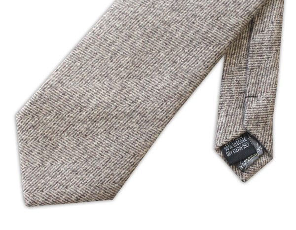 BEIGE LIGHT HERRINGBONE TIE-0
