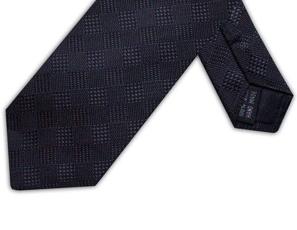 BLACK HOUNDSTOOTH CHECK TIE-0