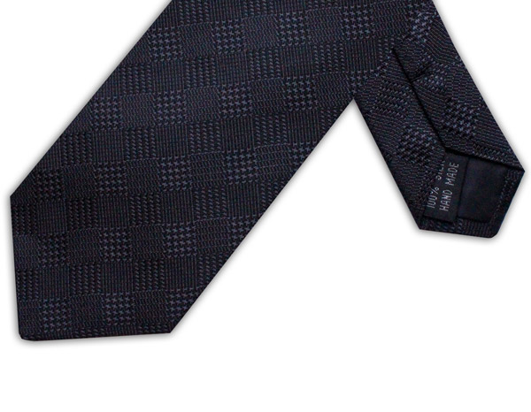 BLACK HOUNDSTOOTH CHECK TIE