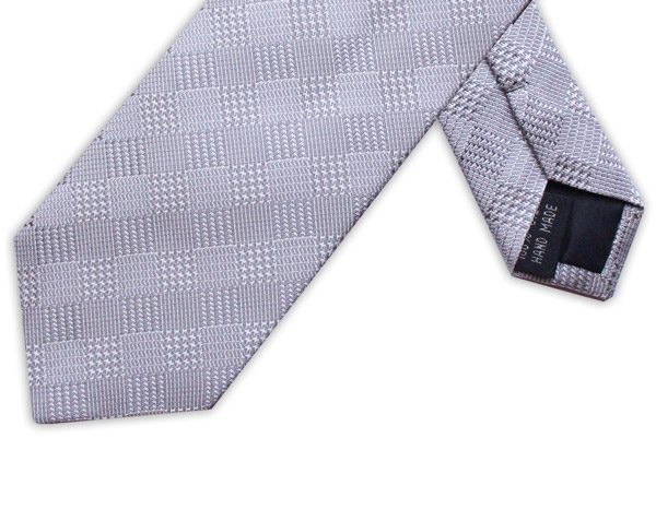 GREY HOUNDSTOOTH CHECK TIE-0