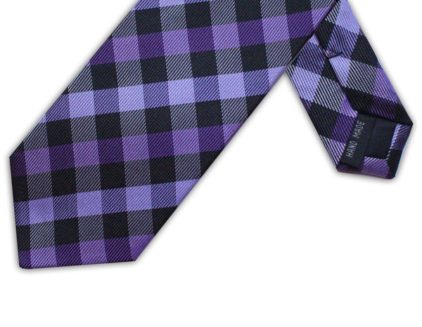 PURPLE/BLACK CHECK TIE