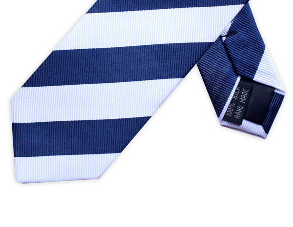 NAVY/WHITE DIAGONAL STRIPE TIE