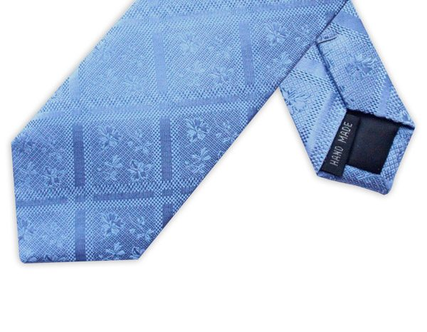 LIGHT BLUE FLORAL/CHECK TIE-0