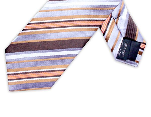 BROWN/ORANGE DIAGONAL STRIPE TIE-0