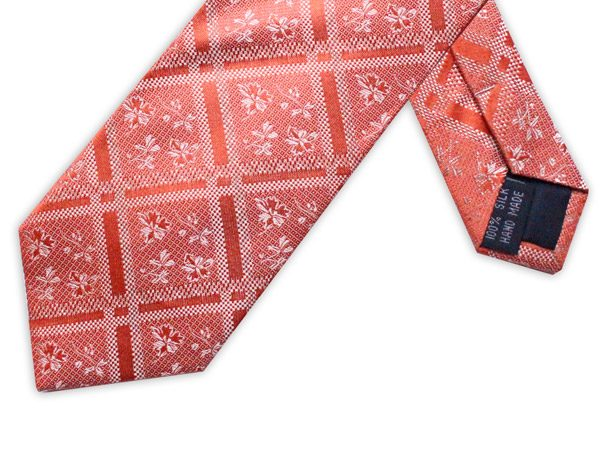 CORAL ORANGE FLORAL/CHECK TIE-0