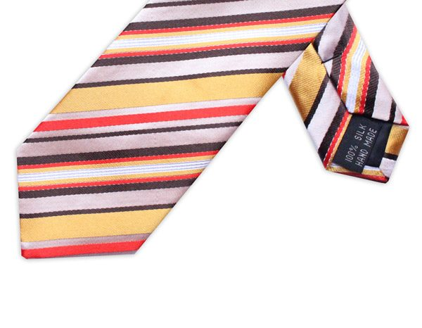 RED/GOLD DIAGONAL STRIPE TIE-0