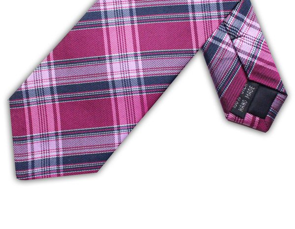 HOT PINK/NAVY CHECK TIE-0